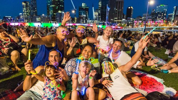 BRISBANE, AUSTRALIA - DECEMBER 31: The Eve and Chapel family celebrate New Year's Eve at South Bank on December 31, 2016 ...
