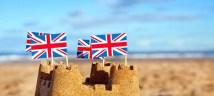 british flags sand castle beach
