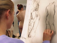 Woman Drawing Nude Figure