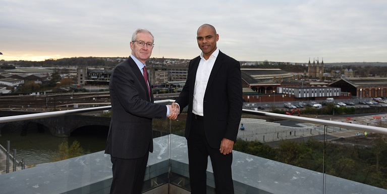 Prof. Hugh Brady (Vice Chancellor and President, University of Bristol) and Marvin Rees (Bristol Mayor)