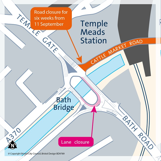 Bath Bridge lane closure diagram