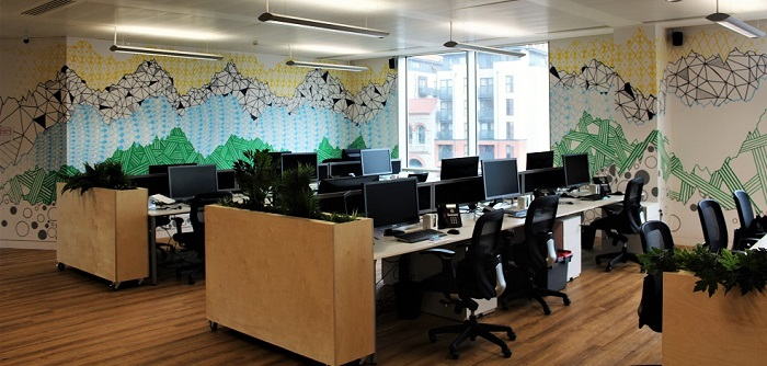 Office mural and desks