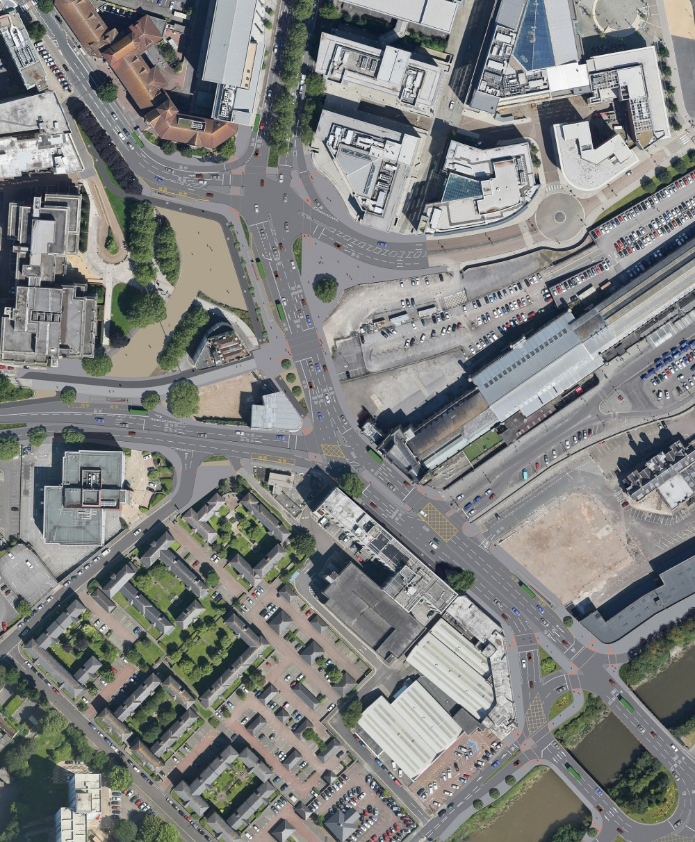 An aerial of how the completed scheme will look