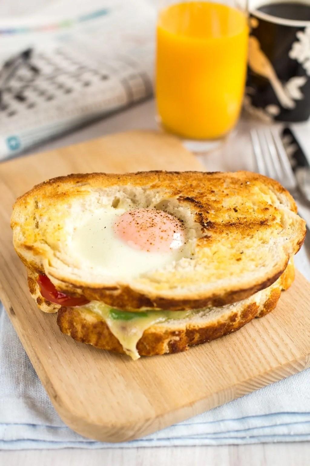Egg in a Hole Breakfast Sandwich Recipe
