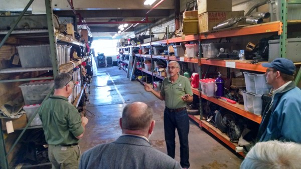 Jeff Lane, founder of the Lane Motor Museum, giving a tour of the normally inaccessible basement.
