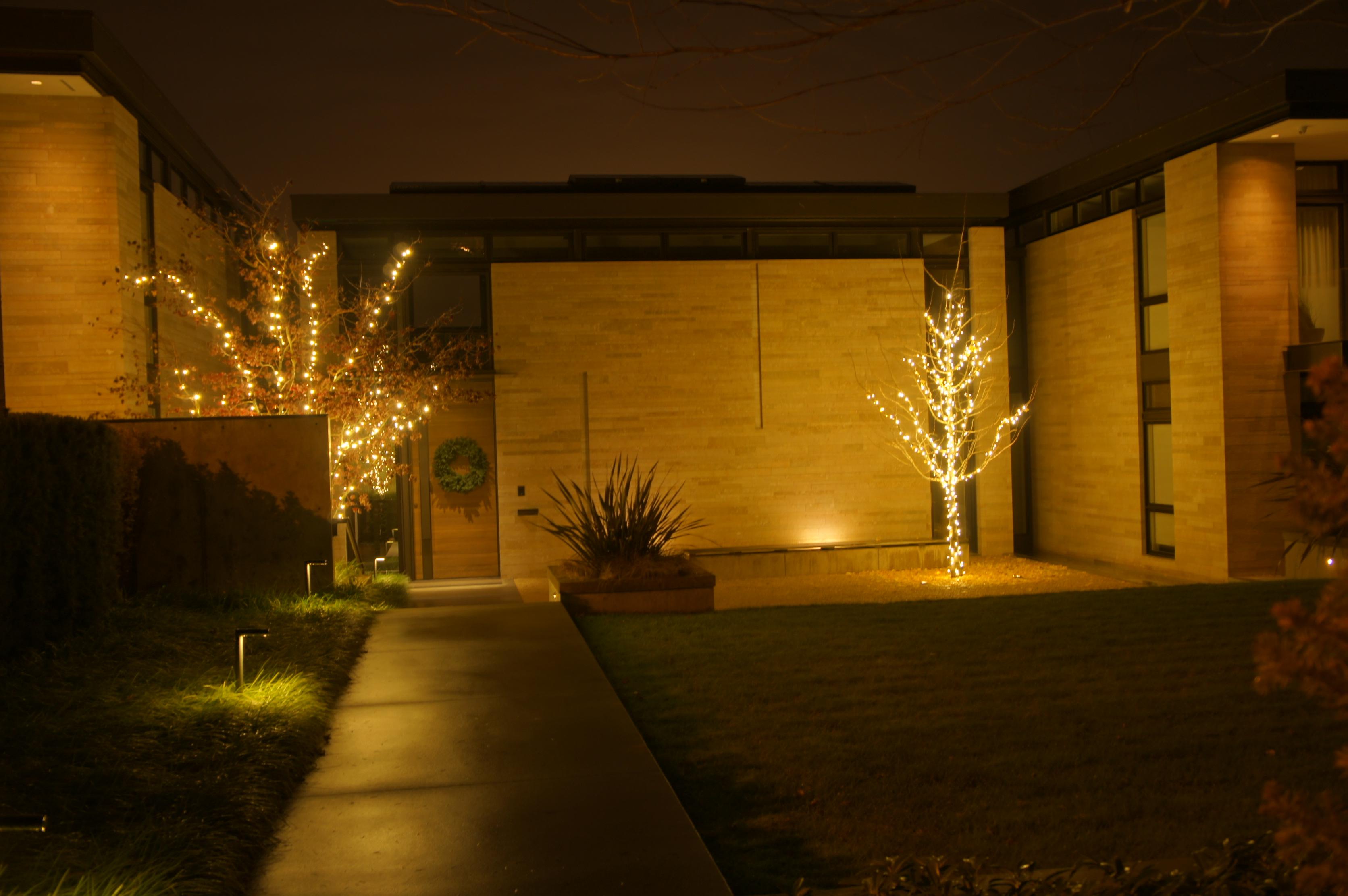 landscape lighting installation in