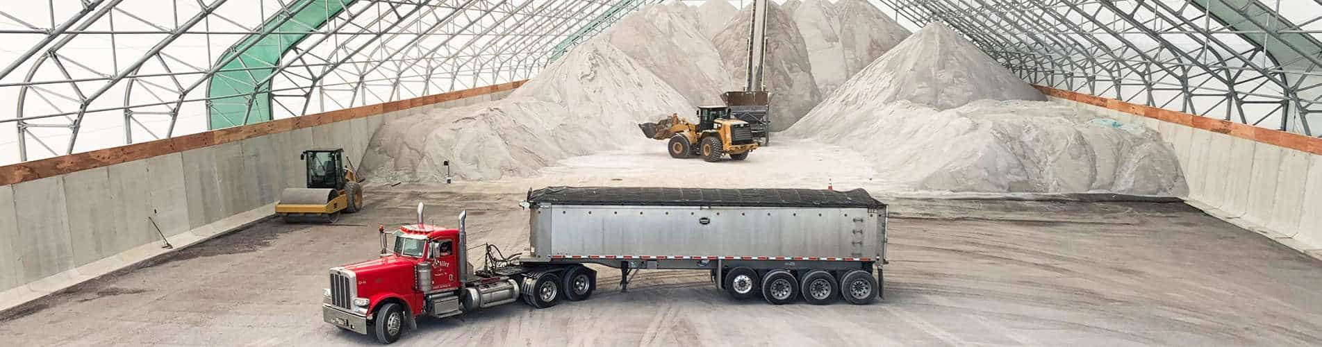 Salt Storage Fabric Building with large truck