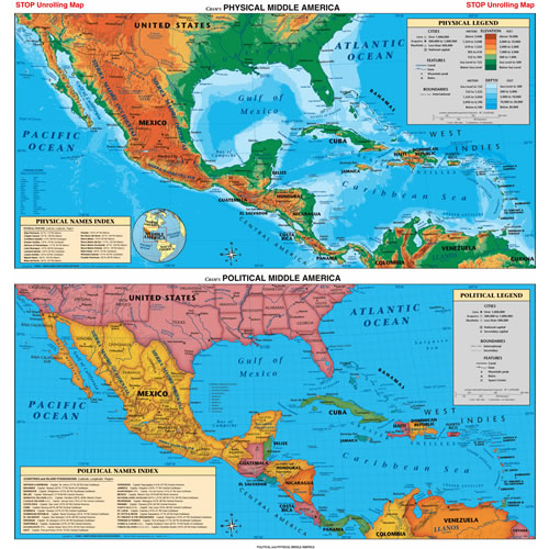 Map Middle America Physical Geography