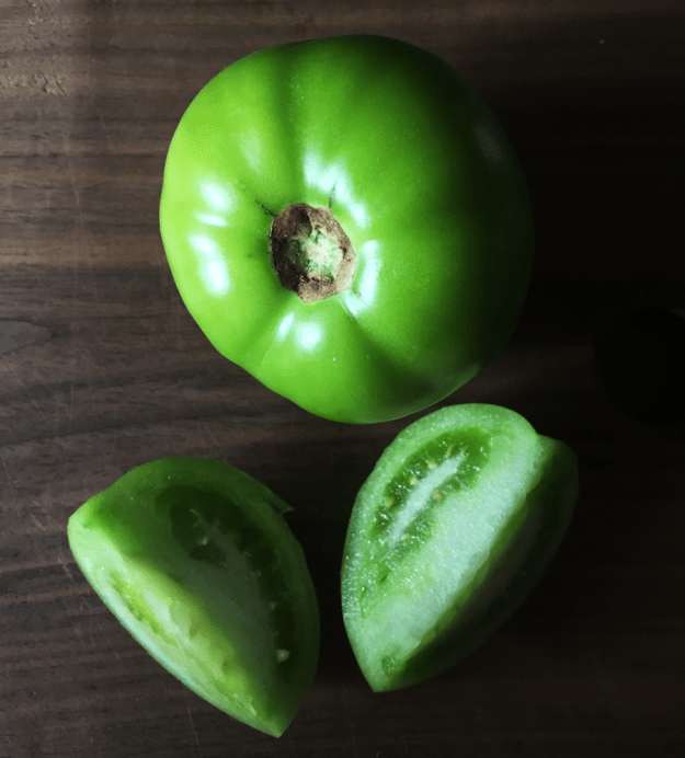 Spicy pickled green tomatoes from britinthesouth.com