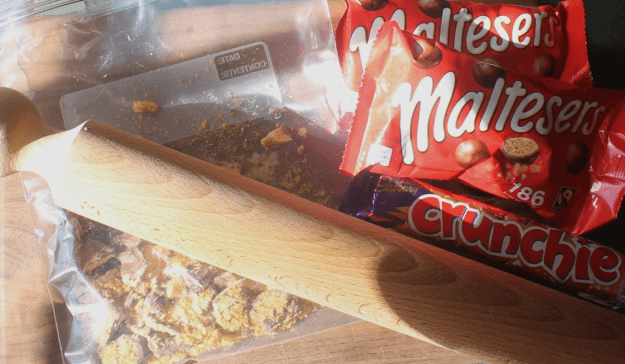 Chocolate Tiffin with Brandy Soaked Raisins, Crunchie, Maltesers and Digestive Biscuits from britinthesouth.com