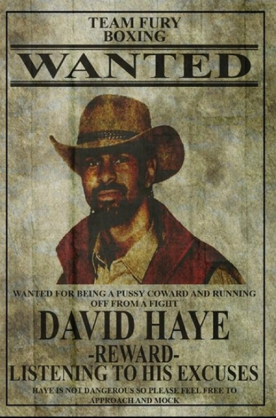 David Haye Wanted Poster by Tyson Fury