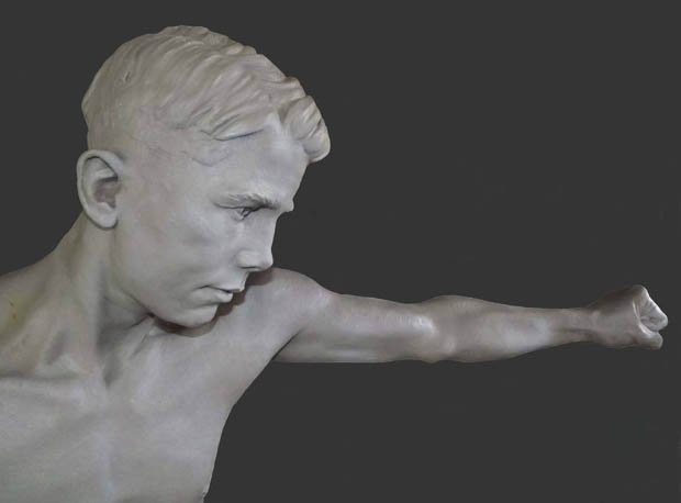 Statue Teddy Baldock, World Bantamweight Champion 1927. Britain's youngest ever World Champion