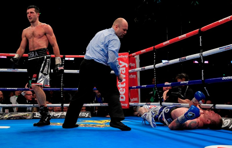 FROCH v GROVES2 THE REMATCH WEMBLEY STADIUM LONDON PIC;LAWRENCE LUSTIG WBA & IBF Super Middleweight World Championships Carl Froch v George Groves Carl Froch knocks out George Groves