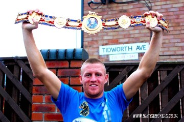Terry Flanagan - Lightweight British champion outside the house where he grew up in Ancoats
