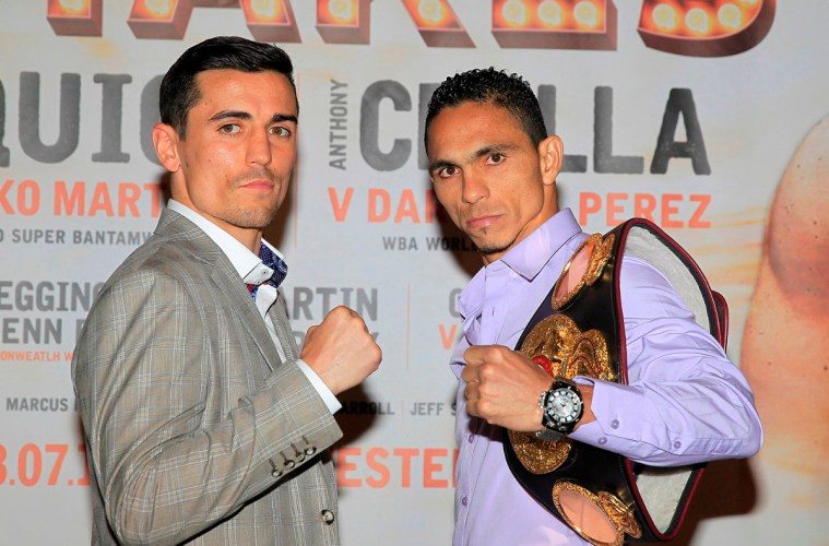 HIGH STAKES PROMOTION FINAL PRESS CONFERENCE GROSVENOR CASINO,MANCHESTER PIC;LAWRENCE LUSTIG WBA WORLD LIGHTWEIGHT TITLE CHALLENGER ANTHONY CROLLA AND CHAMPION DARLEYS PEREZ COME FACE TO FACE BEFORE THEIR CLASH ON EDDIE HEARNS PROMOTION AT THE MANCHESTER ARENA ON SATURDAY(JULY 18TH)