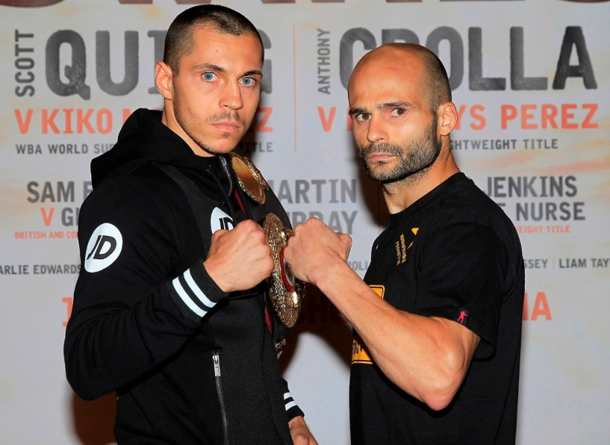 HIGH STAKES PROMOTION FINAL PRESS CONFERENCE GROSVENOR CASINO,MANCHESTER PIC;LAWRENCE LUSTIG WBA WORLD SUPER-BANTAMWEIGHT TITLE CHAMPION SCOTT QUIGG  AND CHALLENGER KIKO MARTINEZ COME FACE TO FACE BEFORE THEIR CLASH ON EDDIE HEARNS PROMOTION AT THE MANCHESTER ARENA ON SATURDAY(JULY 18TH)