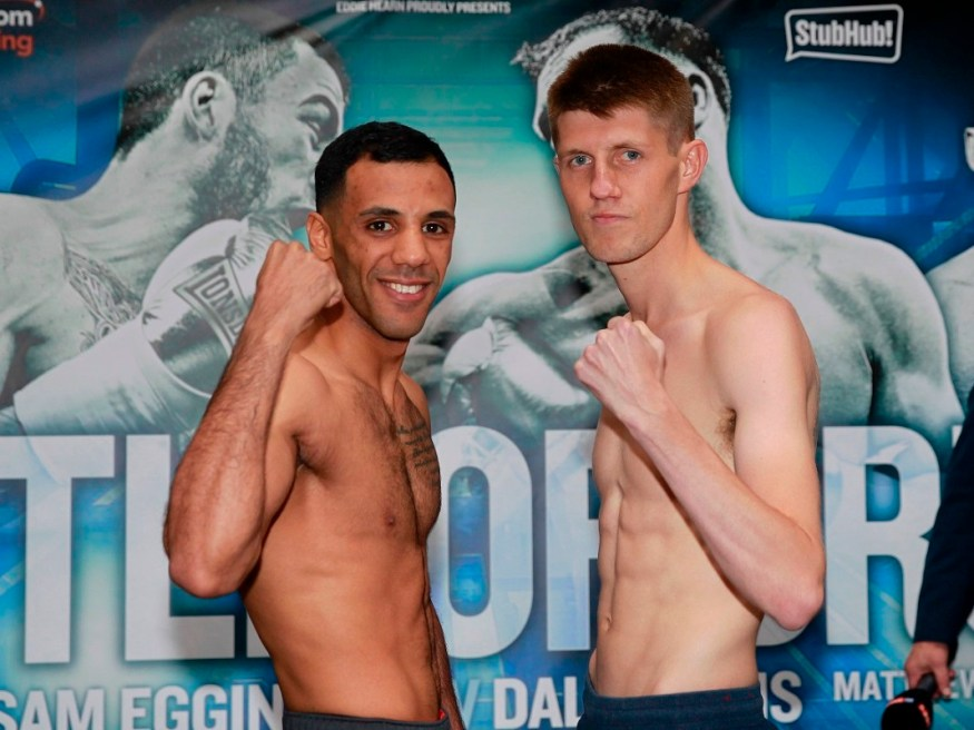 BATTLE OF BRUM FINAL PRESS CONFERENCE GROSEVNOR CASINO,BIRMINGHAM PIC;LAWRENCE LUSTIG BRITISH SUPERFLYWEIGHT CHAMPIONSHIP KAL YAFAI AND JASON CUNNINGHAM WEIGH IN