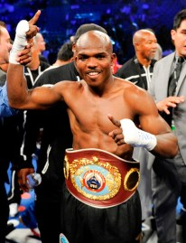 Timothy Bradley poses with his champion's belt following WBO welterweight title fight split decision victory over Manny Pacquiao, from the Philippines, Saturday, June 9, 2012, in Las Vegas. (AP Photo/Chris Carlson)