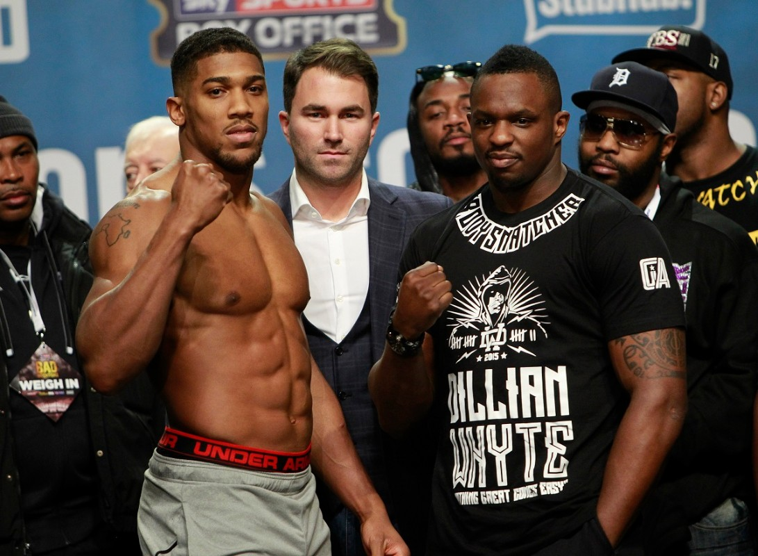 02 BOXING WEIGH IN INDIGO,LONDON PIC; LAWRENCE LUSTIG BRITISH AND COMMONWEALTH HEAVYWEIGHT TITLE ANTHONY JOSHUA AND DILLIAN WHYTE WEIGH IN