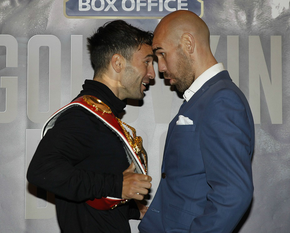 GOLOVKIN BROOK UNDERCARD PRESS CONFERENCE CANARY RIVERSIDE HOTEL,LONDON PIC;LAWRENCE LUSTIG IBF WORLD BANTAMWEIGHT TITLE THINGS GET HEATED AS CHAMPION LEE HASKINS AND CHALLENGER STUART HALL COME FACE TO FACE AHEAD OF THEIR TITLE CLASH AT LONDONS 02 ARENA ON SATURDAY