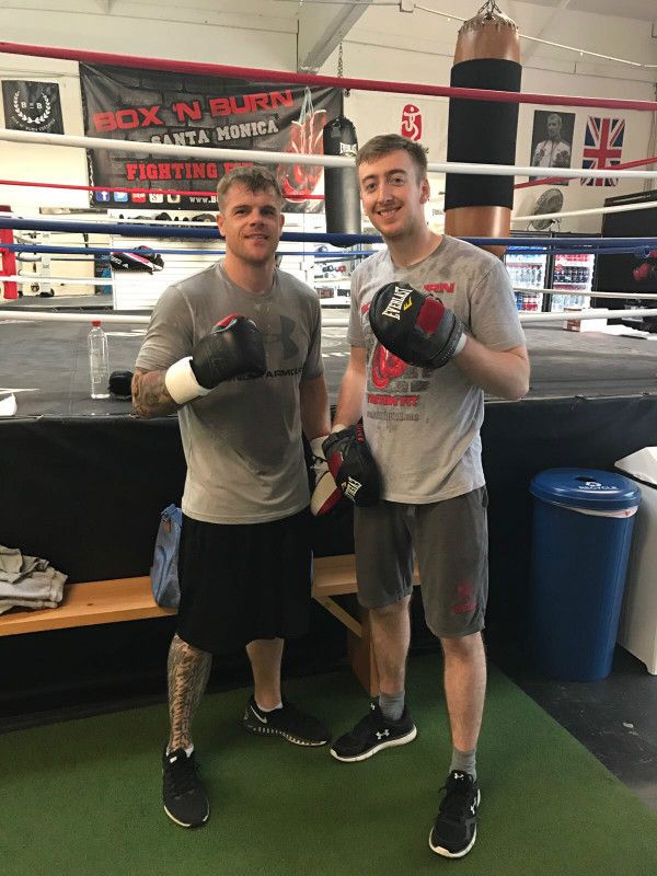 Henry Jones with professional light heavyweight Commonwealth champion boxer Callum Johnson