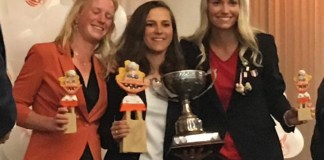 lydia ingman poses with first prize trophy