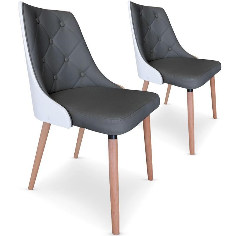 chaises scandinaves matelasse bois blanc gris lot de 2