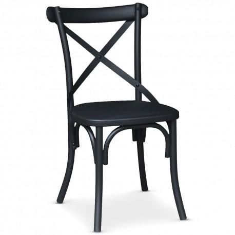 chaise bistrot en metal angie noir mat