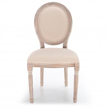 chaises medaillon tissu beige louis xvi lot de 2