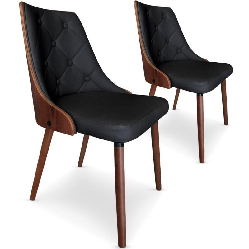 chaises scandinaves matelasse bois et simili cuir noir