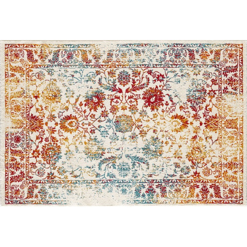tapis rectangulaire vintage blanc