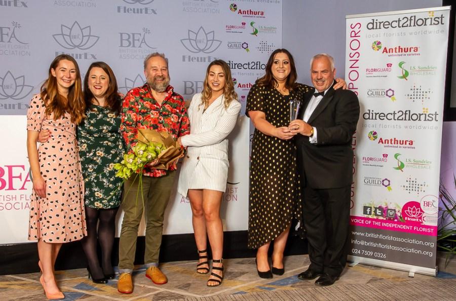 Sian Wild, Mark Entwistle, The flower lounge, Didsbury, winners of BFA industry awards , FleurEx