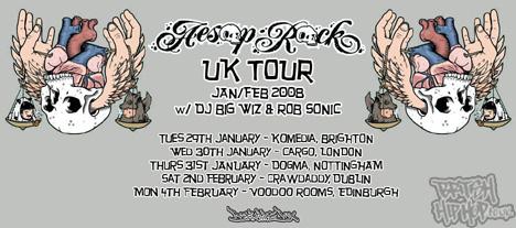 Aesop Rock w/ DJ Big Wiz And Rob Sonic UK Tour