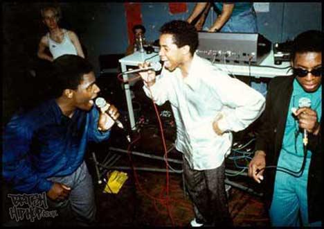 Hip Hop History Month - Dynamic 3 MCs at Brixton Fridge 1985 - Photo by Normski