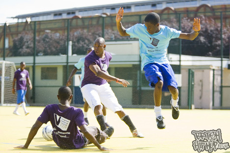 Tinchy Stryder launches the vinspired national awards playing football with young volunteers