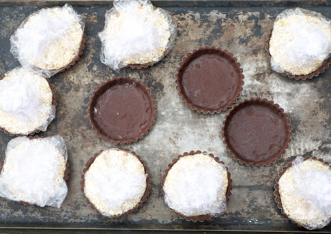 photo of Chocolate and salted caramel popcorn tarts