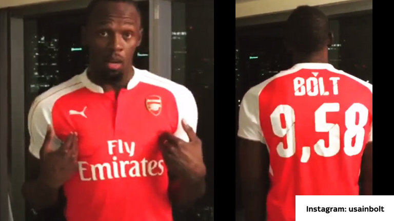 Usain Bolt is a Gooner; loses huge bet following United derby loss