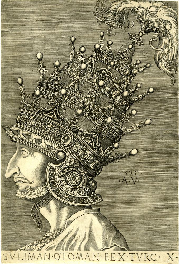 Portrait of Suleyman the Magnificent, a profile bust wearing an elaborate crown with four tiers of goldwork and pearls.  1535 Engraving