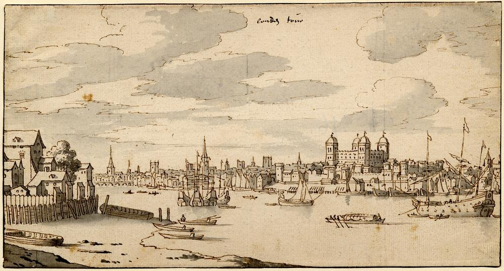 View of the Thames and the Tower of London from the Bermondsey side; the view extending to left just beyond London Bridge, the N end of which is visible, a group of four high-decked ships moored near the centre and another at r<br /> ight<br /> Pen and brown ink, with grey wash