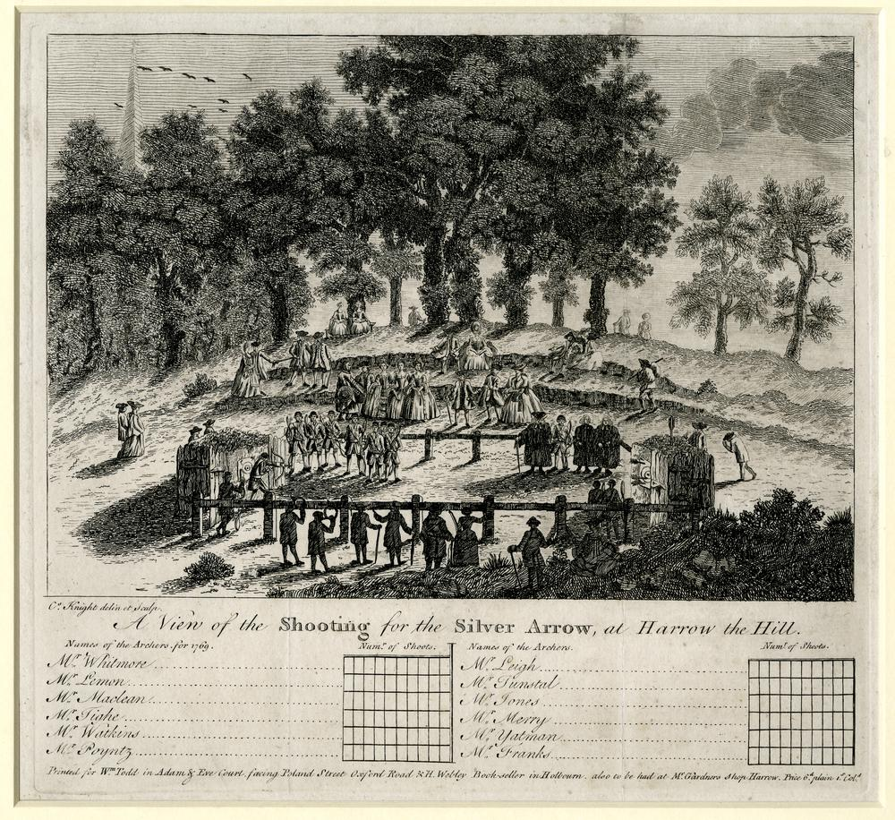 An archery scorecard, showing a contest with spectators watching contestants at the left shooting at targets. 1769 Etching with engraving