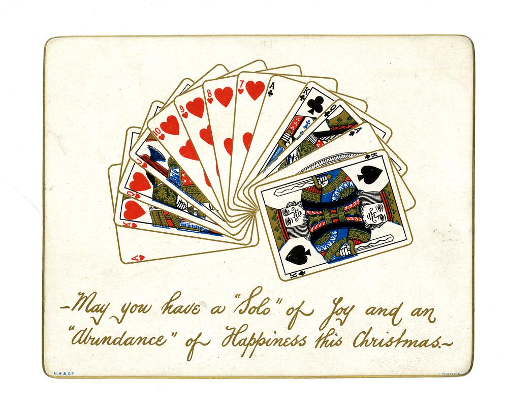 Christmas card with a hand of cards and two lines of greeting.</p><p>Chromolithograph