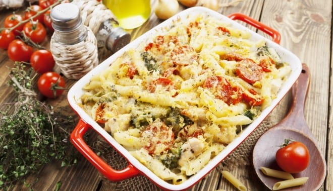 Striped Penne zite with vegetables