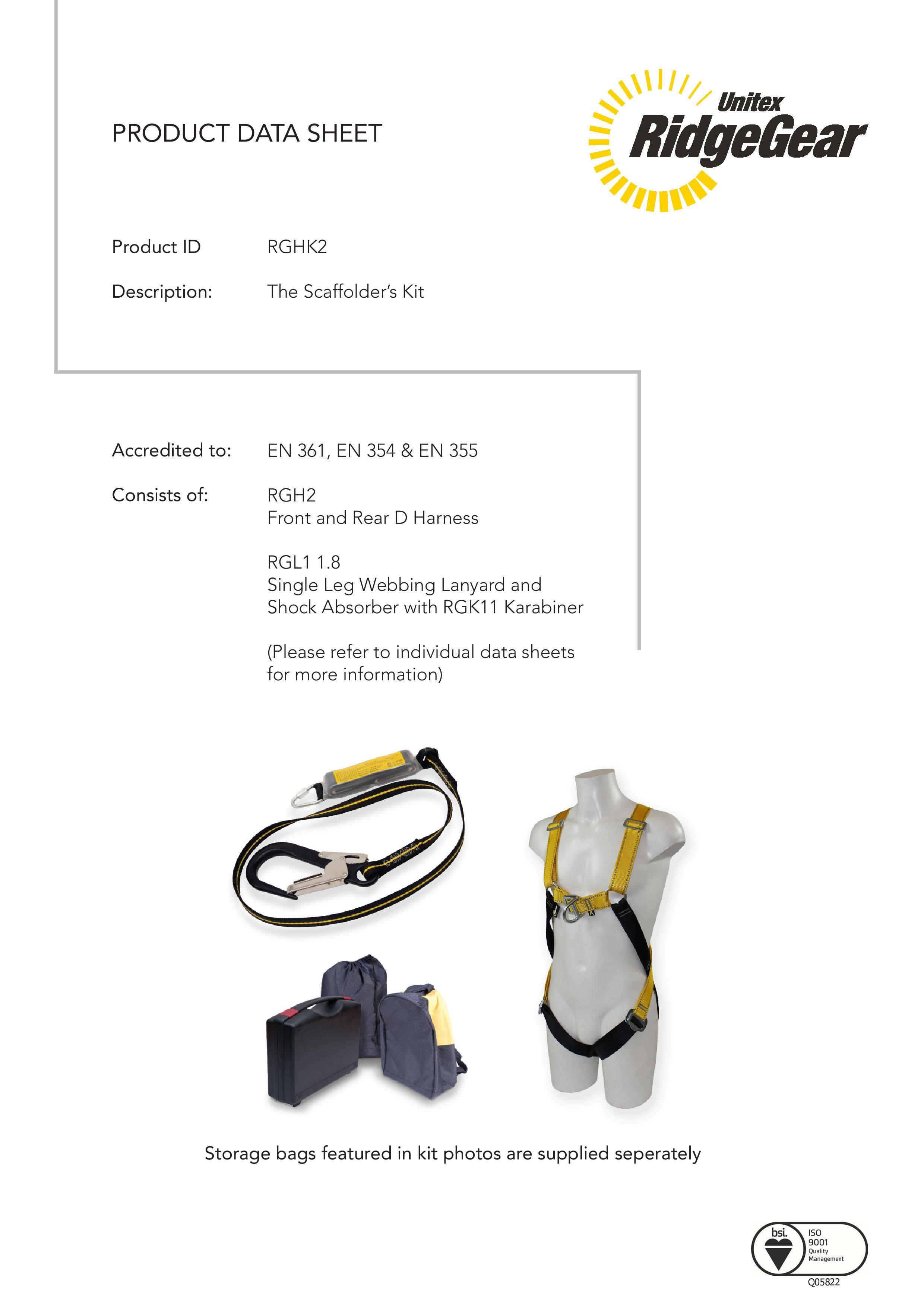 Scaffolder S Safety Harness Kit By Ridgegear Rghk2