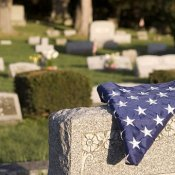 flag in a cemetery
