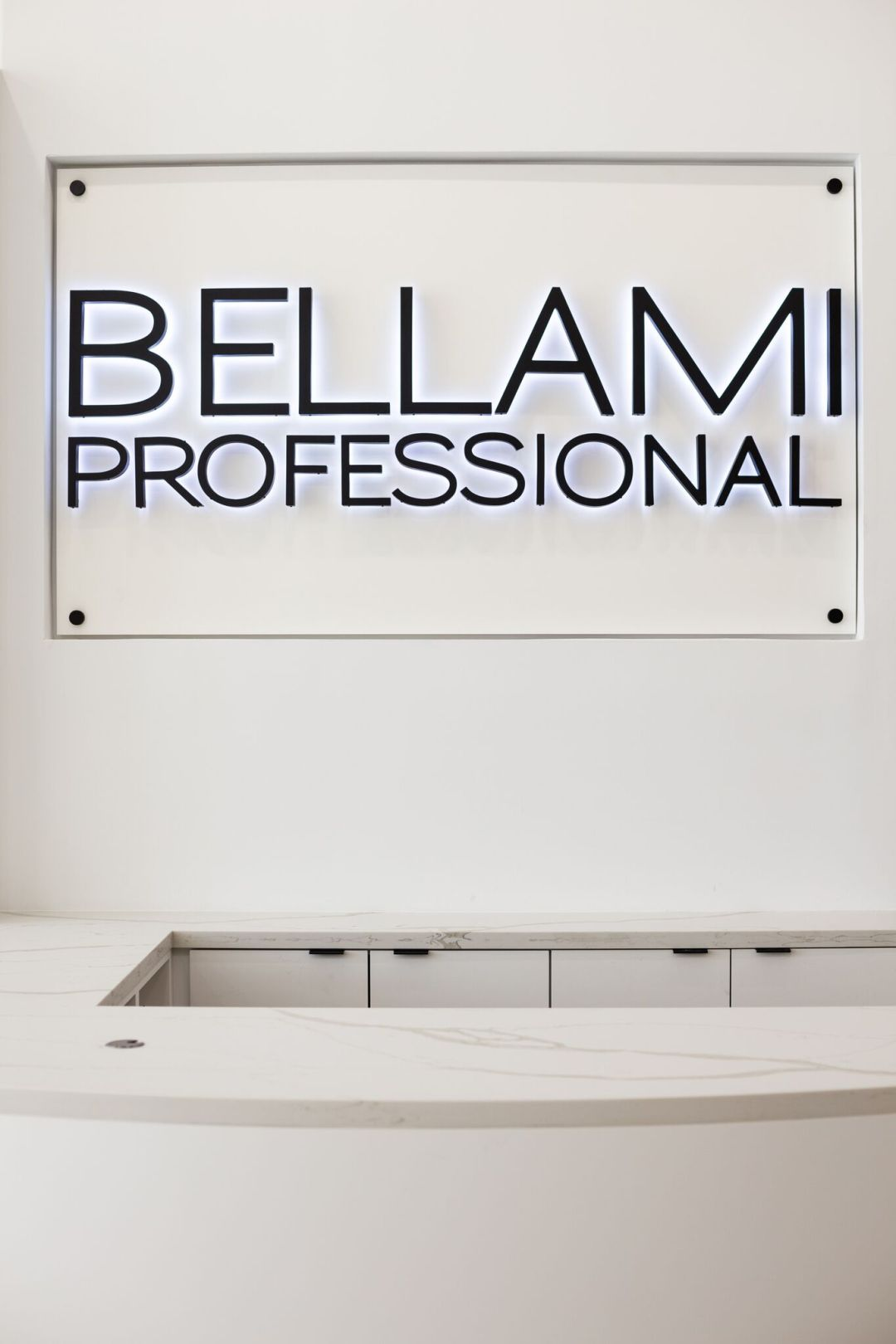bellami professional wall and white marble counters