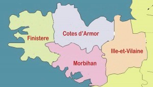 Map of Brittany showing the departments