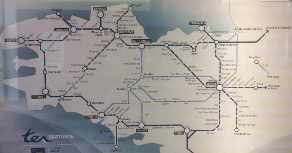 Rail Map Of France.Map Of Rail Network In Brittany Brittany France