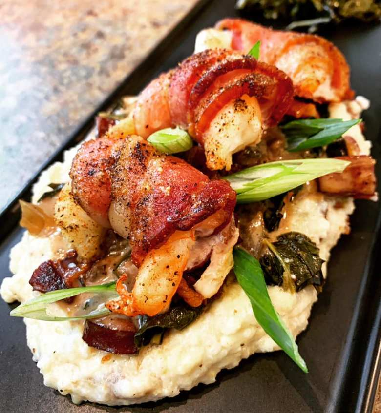 Bacon Wrapped Shrimp, Pickled Swiss Char & White Cheddar Grits