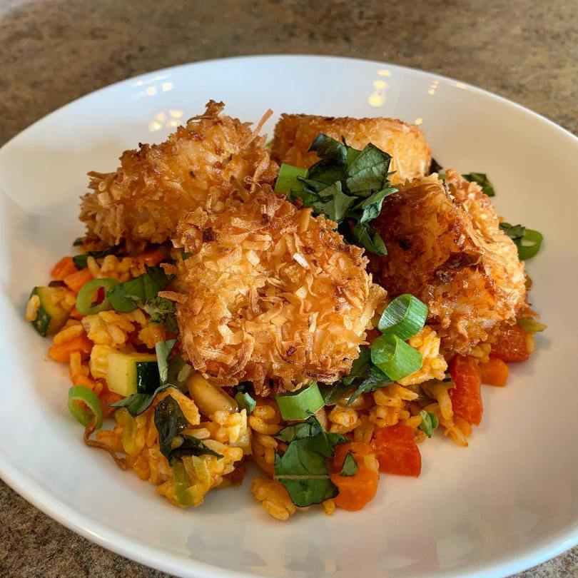 Coconut Shrimp with Red Curry Coconut Rice
