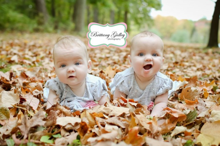 Fall Twins Leaves | Brittany Gidley Photography LLC